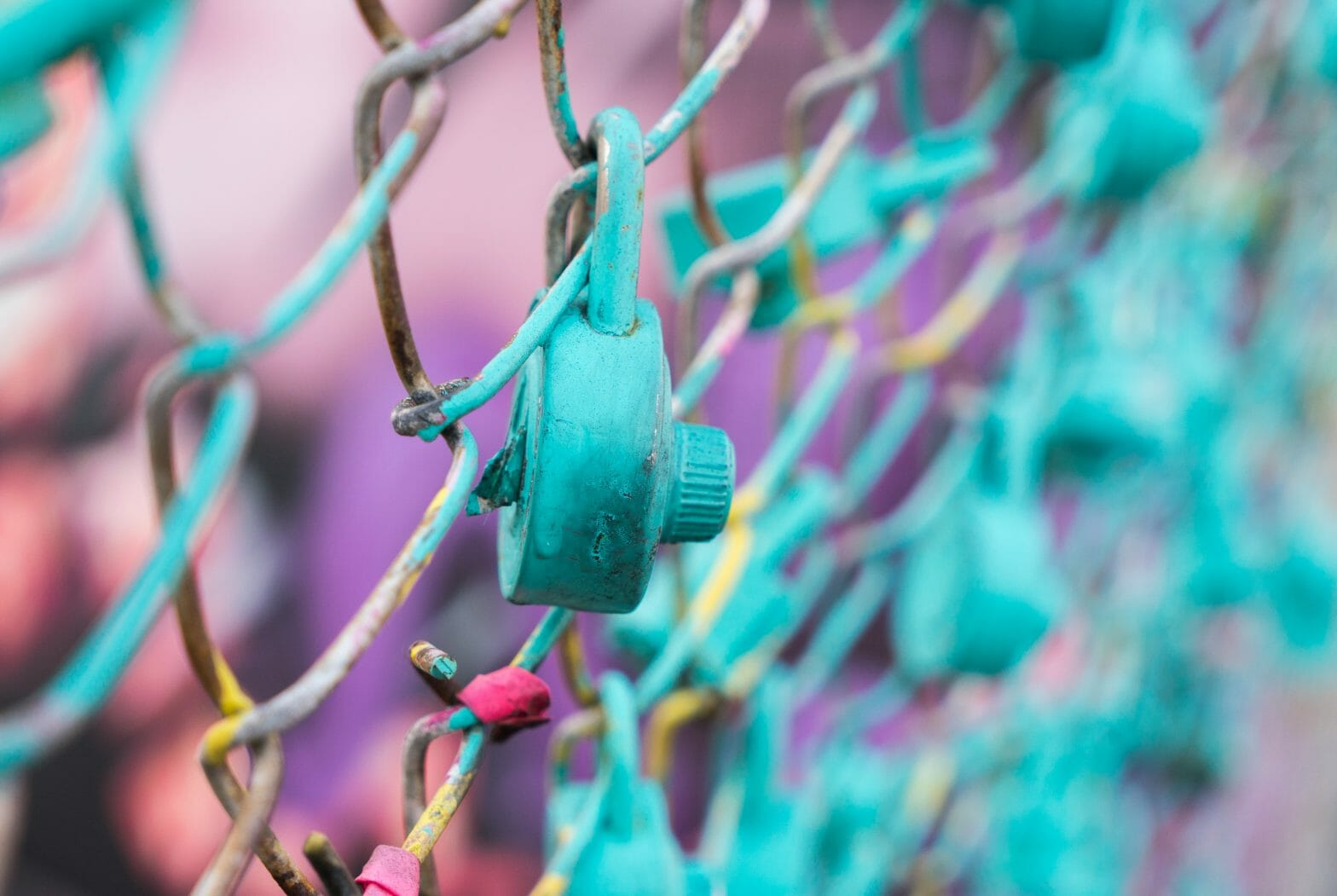 Colourful Lock On Fence
